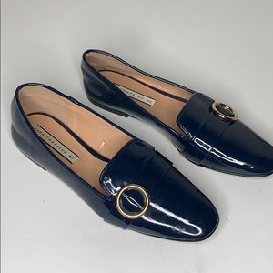 Zara navy patent leather buckle loafers size 9